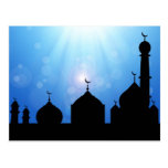 Mosque Silhouette with Sunburst - Postcard