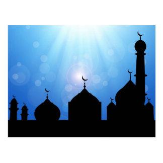 Mosque Silhouette with Sunburst - Postcard
