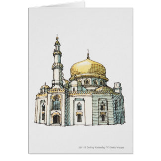 Mosque with gold onion dome and minaret greeting card