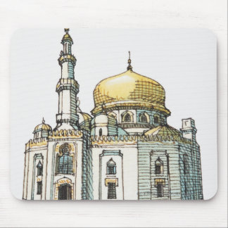 Mosque with gold onion dome and minaret mousepad