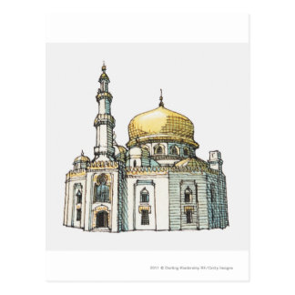 Mosque with gold onion dome and minaret postcard