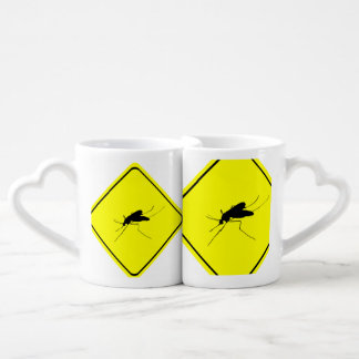 Mosquito Warning Sign Nuisance insect/bug pest Coffee Mug Set