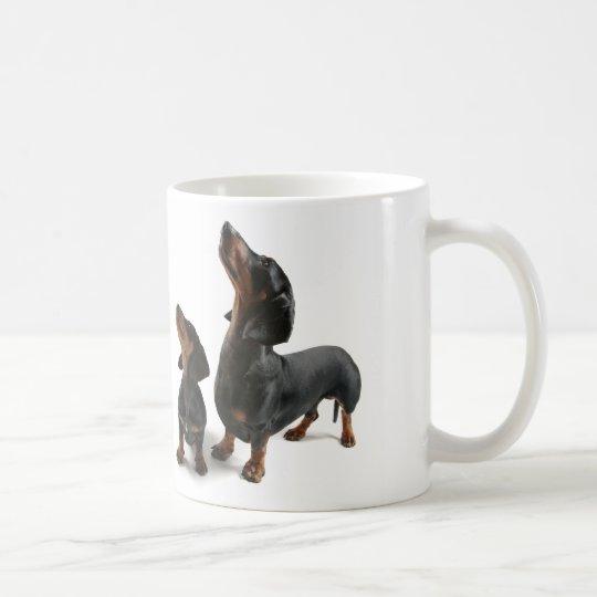 Mosquito with two dogs, dachshund coffee mug