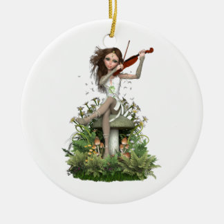 Moss Agate Fairy ~ Melody Round Ceramic Decoration