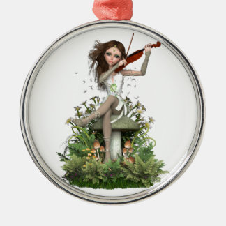 Moss Agate Fairy ~ Melody Silver-Colored Round Decoration