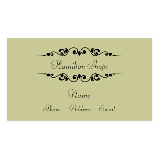 Moss and Black Calligraphy Business Card Templates
