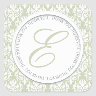 Moss Damask Party Favor Stickers