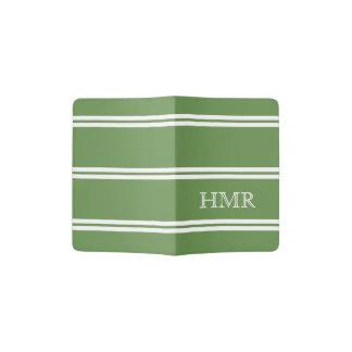 Moss Green and White Stripe Monogram Passport Holder