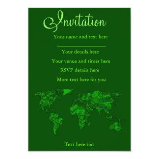 Moss green atlas 13 cm x 18 cm invitation card