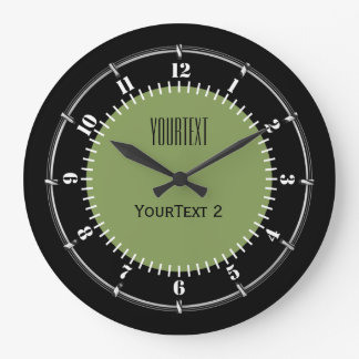 Moss Green Background Solid Color Personalize this Wallclocks