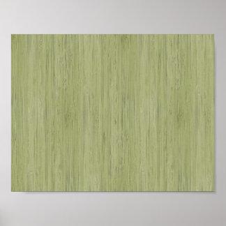 Moss Green Bamboo Wood Grain Look Poster