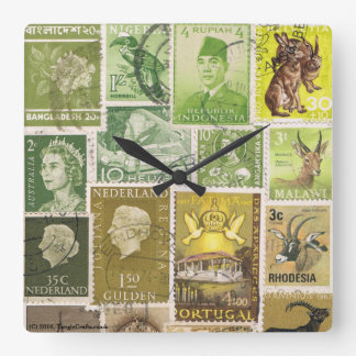 Moss Green Brown Wall Clock, Eclectic Boho Decor Square Wall Clock