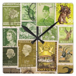 Moss Green Brown Wall Clock, Eclectic Boho Decor Wallclocks