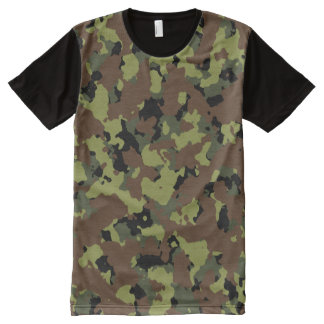 Moss Green Camouflage All-Over Print T-Shirt