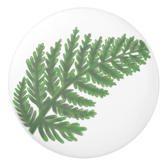 Moss Green Fern Ceramic Knob