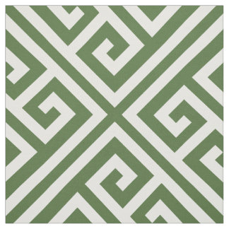 Moss Green Greek Key Large Scale Fabric