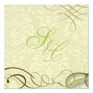 Moss green/scrolls/swooshes/ivory damask card