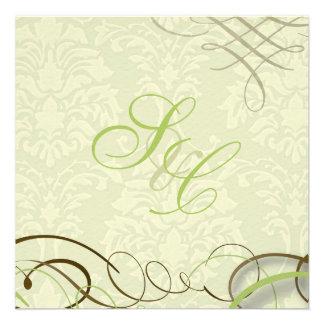 Moss green scrolls swooshes ivory damask custom invite