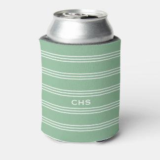 Moss Green Stripes custom monogram can cooler