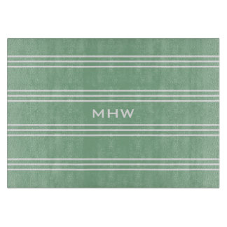 Moss Green Stripes custom monogram cutting boards