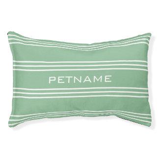 Moss Green Stripes custom monogram dog beds