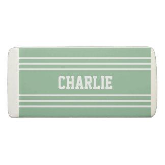Moss Green Stripes custom monogram eraser