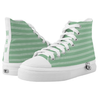 Moss Green Stripes custom monogram high top shoes Printed Shoes