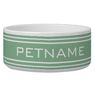 Moss Green Stripes custom monogram pet bowls