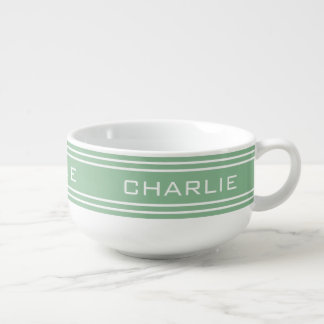 Moss Green Stripes custom monogram soup mug