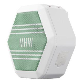 Moss Green Stripes custom monogram speakers