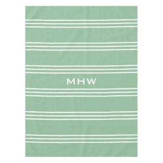 Moss Green Stripes custom monogram table cloths