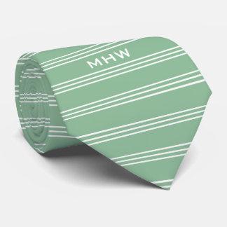 Moss Green Stripes custom monogram tie
