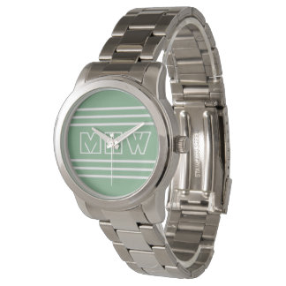 Moss Green Stripes custom monogram watches