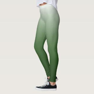 Moss Green White Gradient Fade Leggings