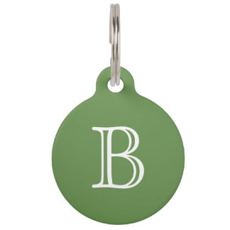 Moss Green White Monogram Name Pet ID Tag
