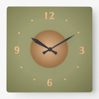 Moss Green with Tan centre  Plain Kitchen Clock