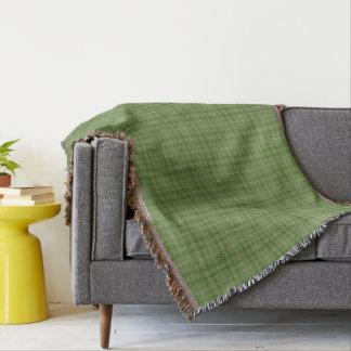 Moss Green Yellow Gold Tartan Plaid Throw Blanket