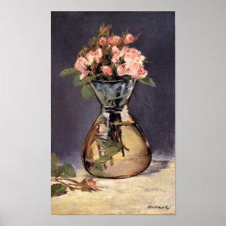 Moss Roses in a Vase Fine Art Print
