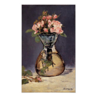 Moss Roses in a Vase Fine Art Print