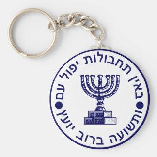 Mossad (הַמוֹסָד) Logo Seal Basic Round Button Key Ring