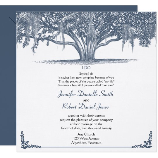 Mossy Oak Tree in Blue Wedding Card