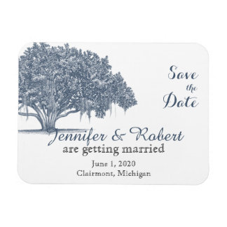 Mossy Oak Tree in Blue Wedding Save the Date Rectangular Photo Magnet