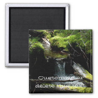 Mossy Waterfall; Customizable Square Magnet