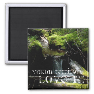 Mossy Waterfall; Yukon Territory Souvenir Square Magnet