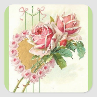 Most Beautiful Vintage Pink Roses and Heart Square Sticker