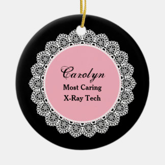 Most Caring X-RAY TECH White Round Lace P08 Christmas Ornament