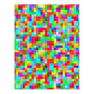 Most Colorful Bright Pixel Pattern Postcard