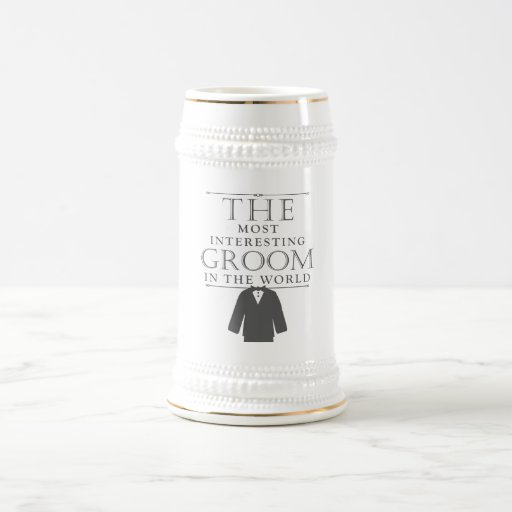 Most Interesting Groom Bachelor Stein, Gray Mug