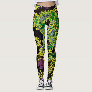 Most popular Chinese Dragon Neon Flame Art Leggings