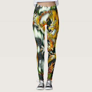 Most Popular Chinese Emperor Dragon Abstract Paint Leggings